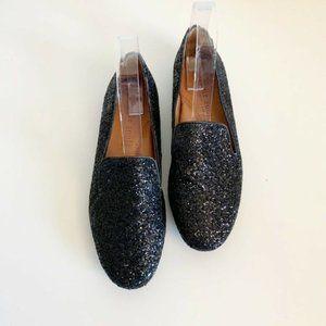 Gentle Souls Eugene Black Glitter Flat Loafers